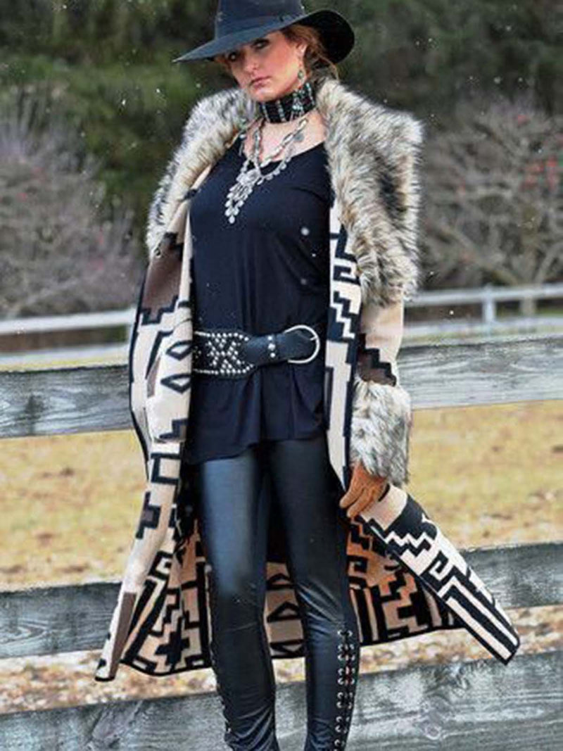 Women's Western Print Long Coat