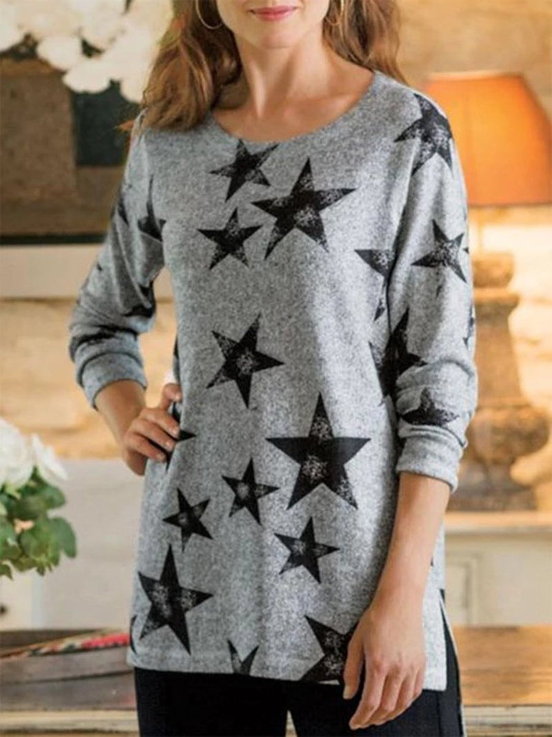Fashion Casual Pullover Printed Long Sleeve T-shirt