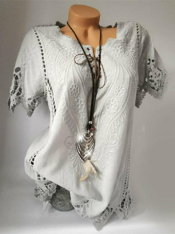 Women Short Sleeve Lace Top Blouse