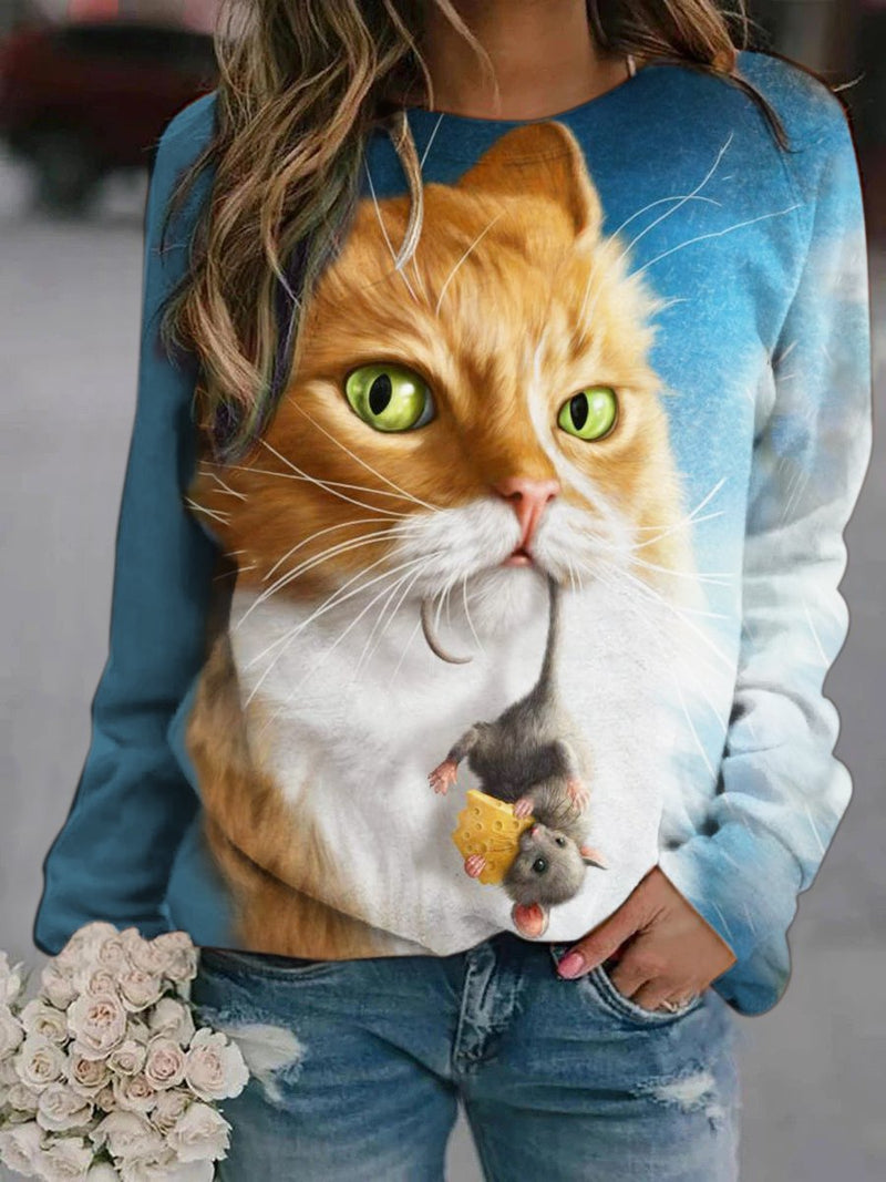 Cat and Mouse Printed Sweatshirt