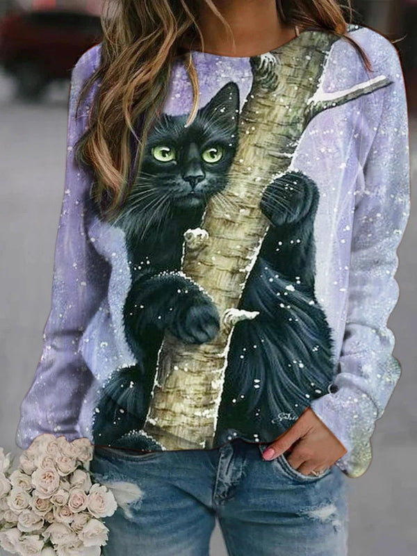 Black Cat Printed Sweatshirt