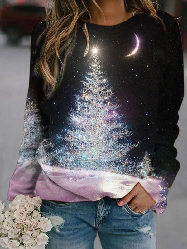 Moon Christmas Tree Printed Sweatshirt