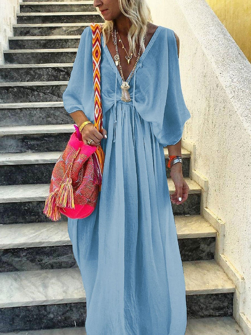 Elegant Deep V-neck Maxi Dress for Summer