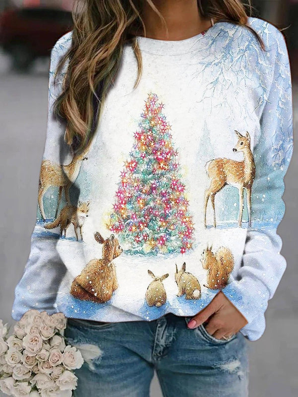 Lighting Christmas Tree Printed Sweatshirt