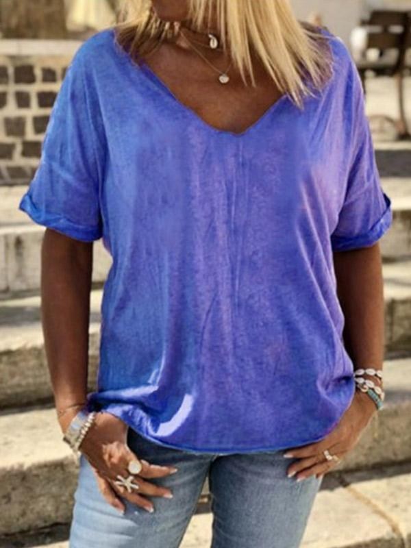 Women's solid color comfortable loose and cool short sleeve T-shirt