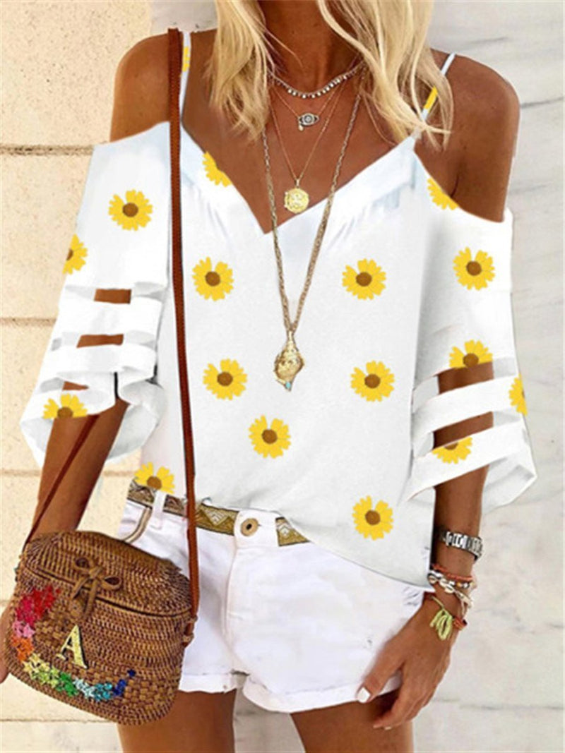 Romantic Rural Daisy Casual Loose Top
