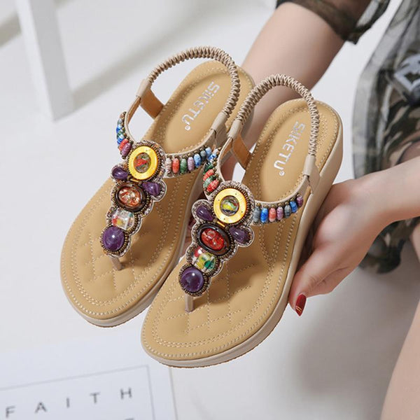 Women Bohemian Flip Flops Wedge Sandals Elastic Band Shoes
