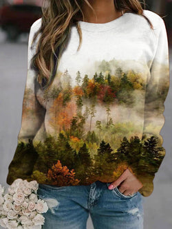 Animate Forest Casual Printed Sweatshirt
