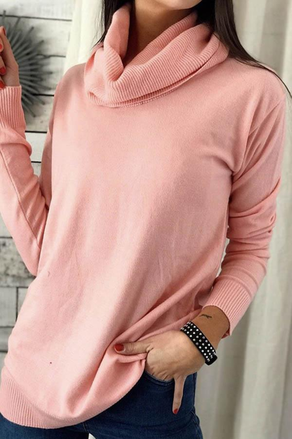 Casual Solid Knitted Ribbed Pile Neck Long Sleeves Sweater