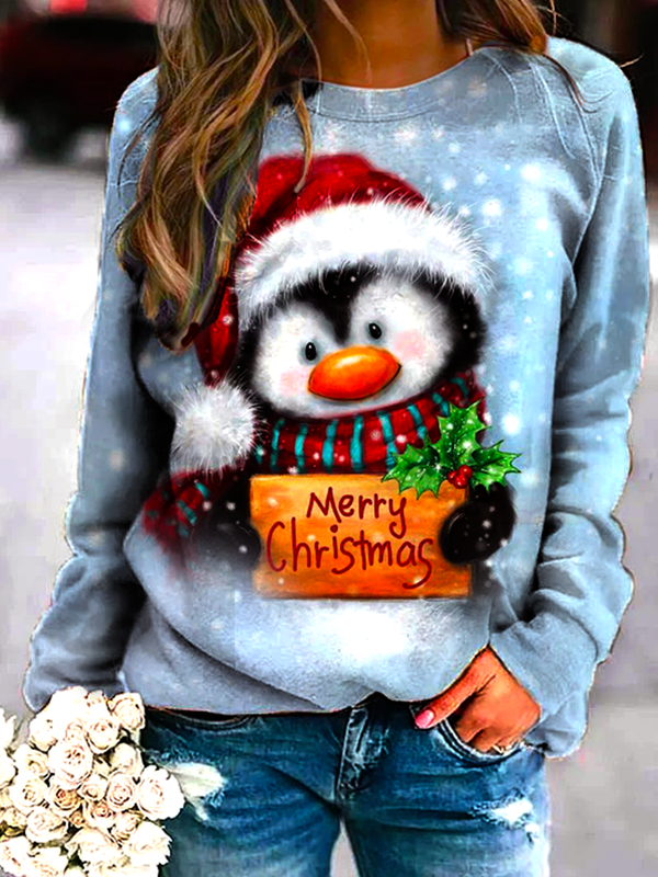 Merry Christmas Penguin Printed Sweatshirt