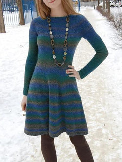 Round neck long sleeve knitted dresses with print