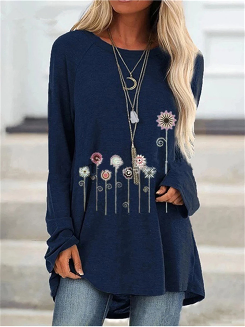 Casual Printed Long Sleeve Round Neck T-Shirt