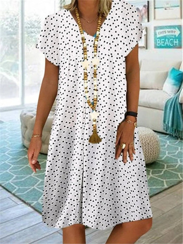Casual Short Sleeve V-Neck Dim Sum Print Midi Dress