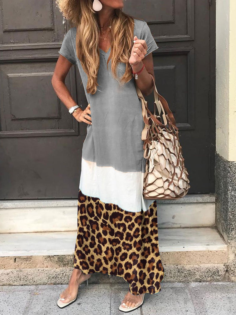 Holiday Stitching Leopard Print Tricolor Dress