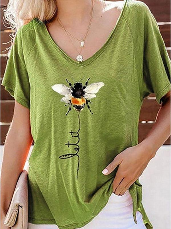 Bee Print V-neck Top Short Sleeve T-shirt