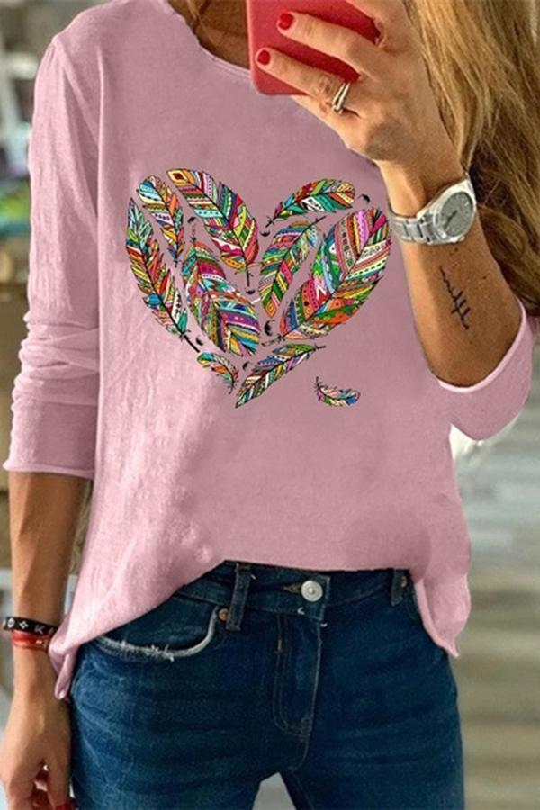 Casual Print Heart Crew Neck T-shirts