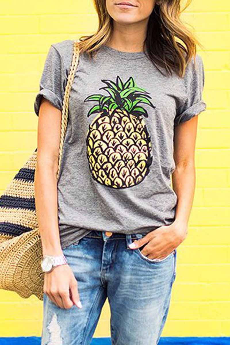 Florcoo colorful Floral Print Pineapple T-shirt