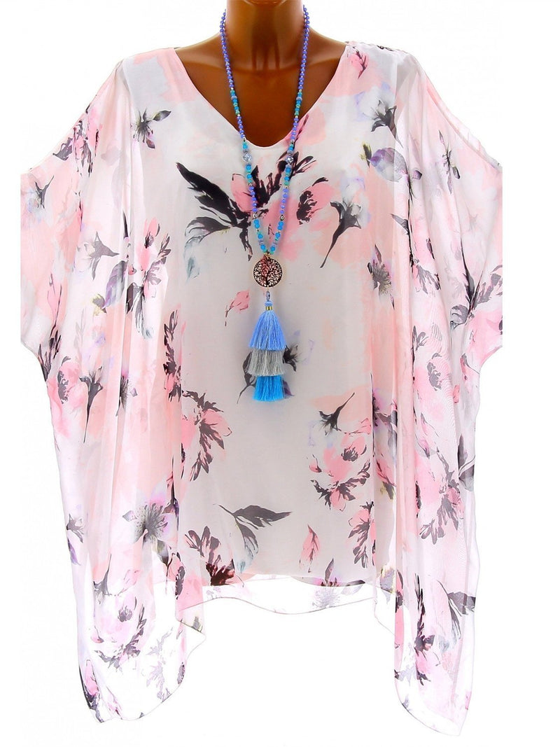 Women High Quality Loose Bat Sleeve Long Sleeve Printed Blouse Tops