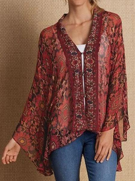 Print Casual V Neck Loose Blouse