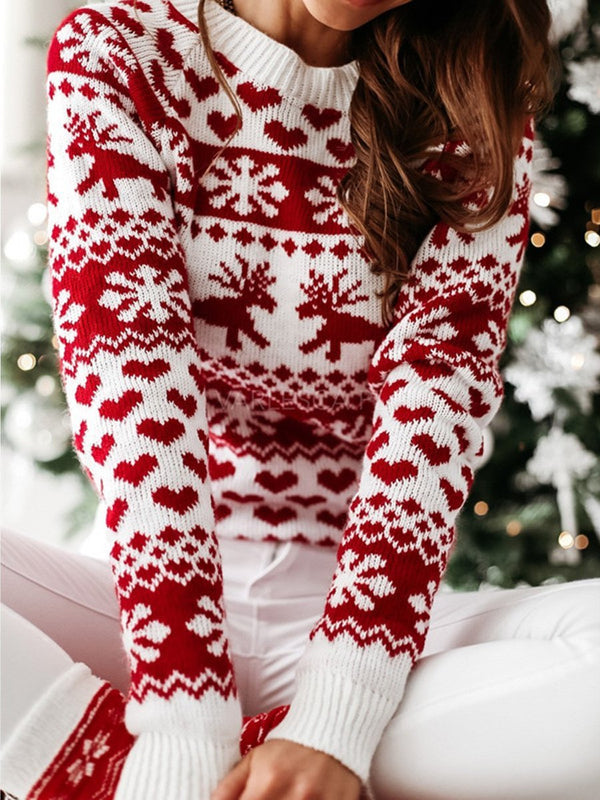 Christmas Elk Long-sleeved Knit Sweater