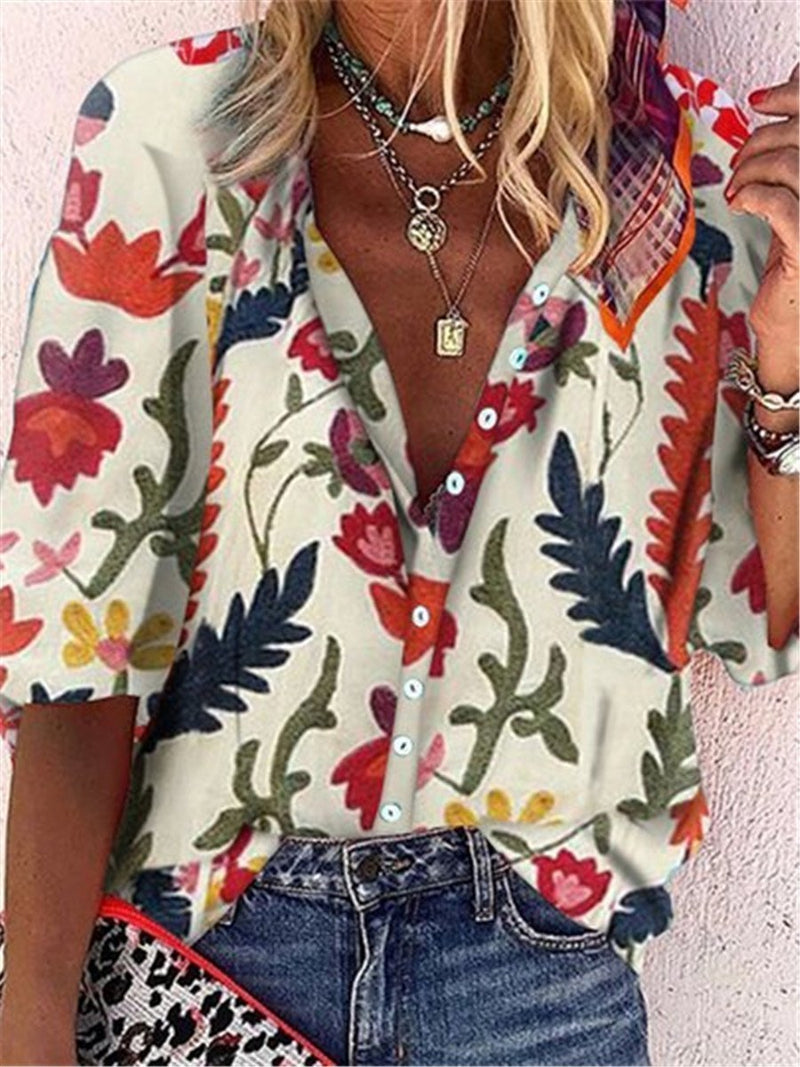 Retro Plant Print Casual Loose Button T-shirts