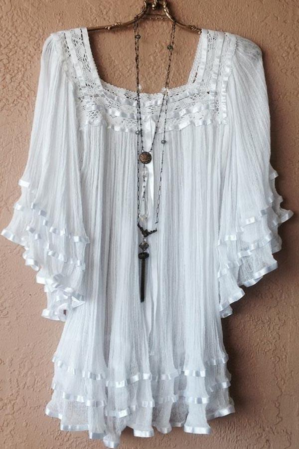 Elegant Paneled Lace Pleated Batwing Square Neck Blouse