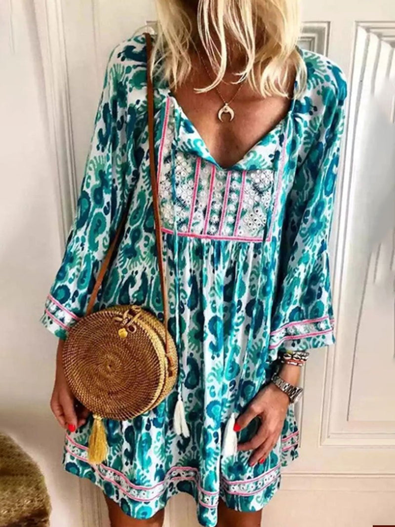 Bohemian V-neck High Waist Long Sleeve Printed Mini Dress