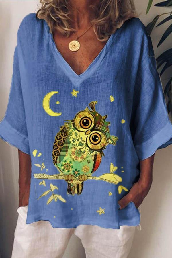 Cartoon Owl Print Paneled V-neck Half Sleeves Casual T-shirt