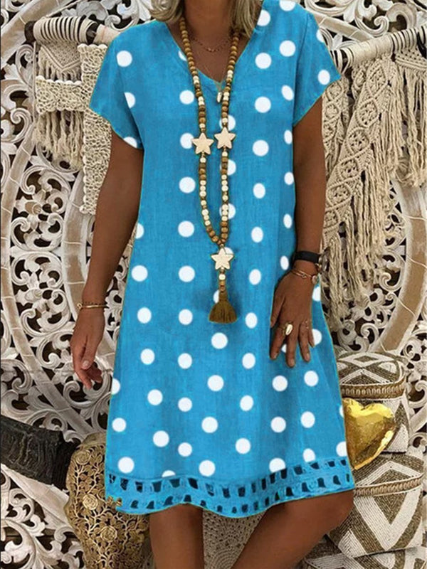 Casual V Neck Polka Dot Print Short Sleeve Midi Dresses