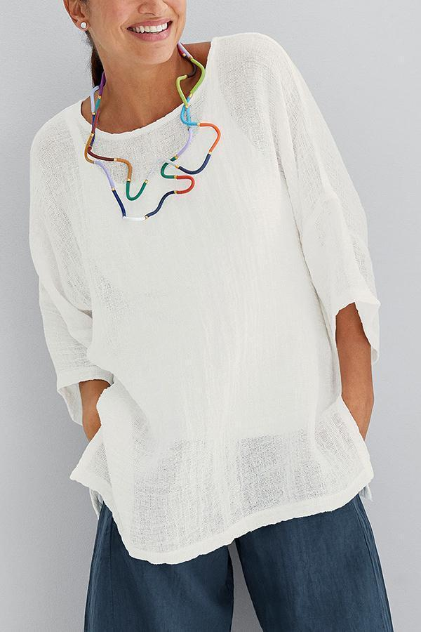 Solid See-through Look 3/4 Sleeves Casual T-shirts