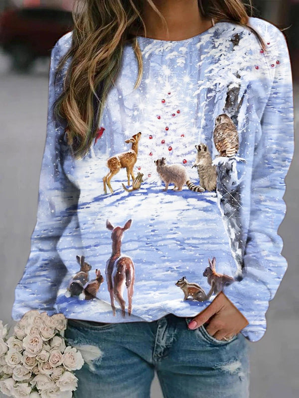Christmas Deer Printed Sweatshirt