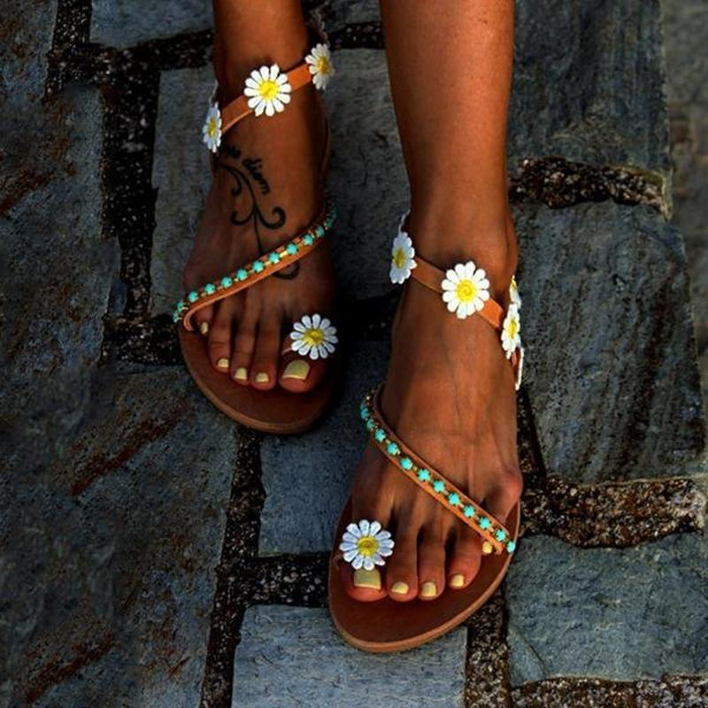 Women Flower Sandals Comfort Plus Size Flip Flop Boho Shoes