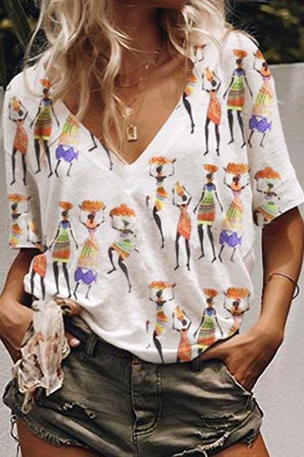 Casual V-neck Figure Print Short Sleeves T-shirt