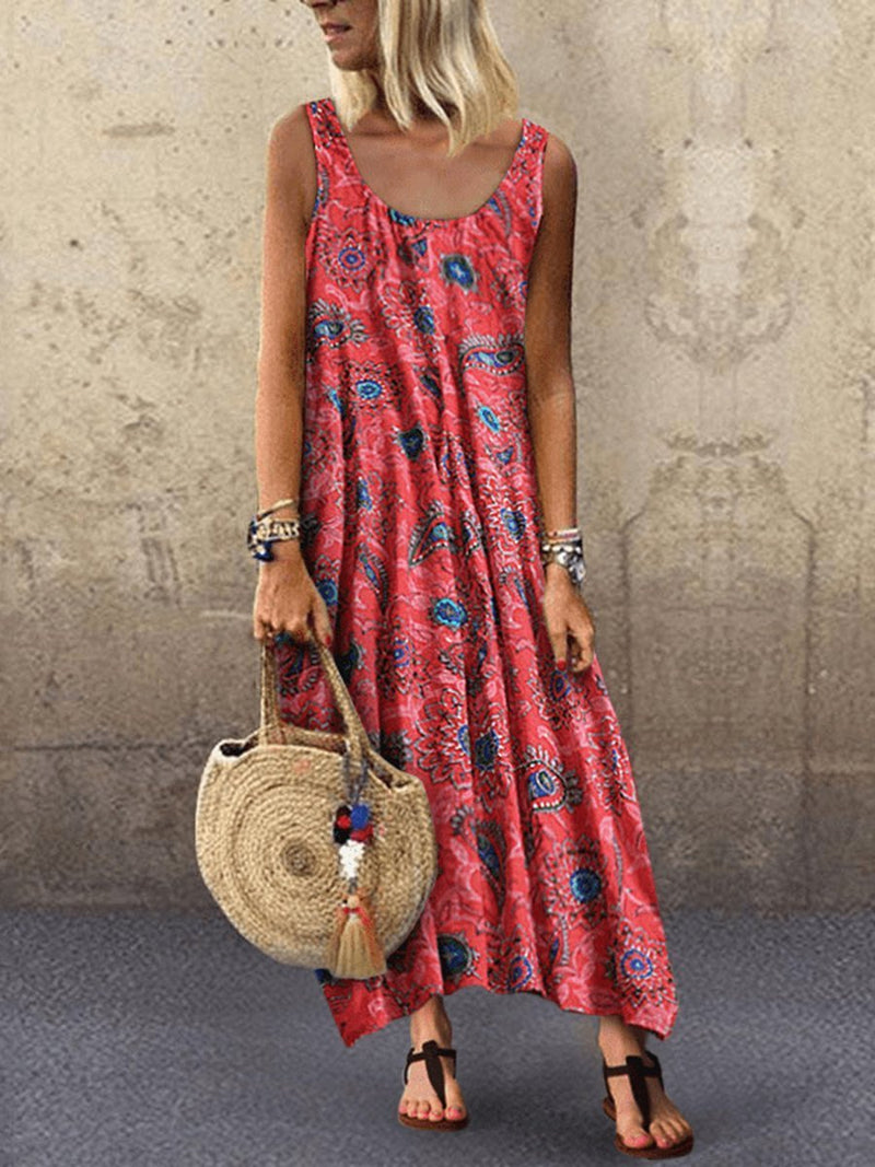 Women Bohemian Loose Sleeveless Dress for Vacation