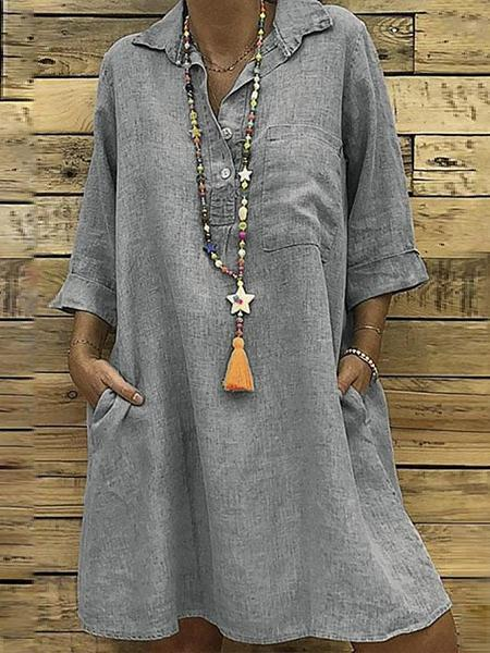 Linen Side Pockets Casual Loose Dress