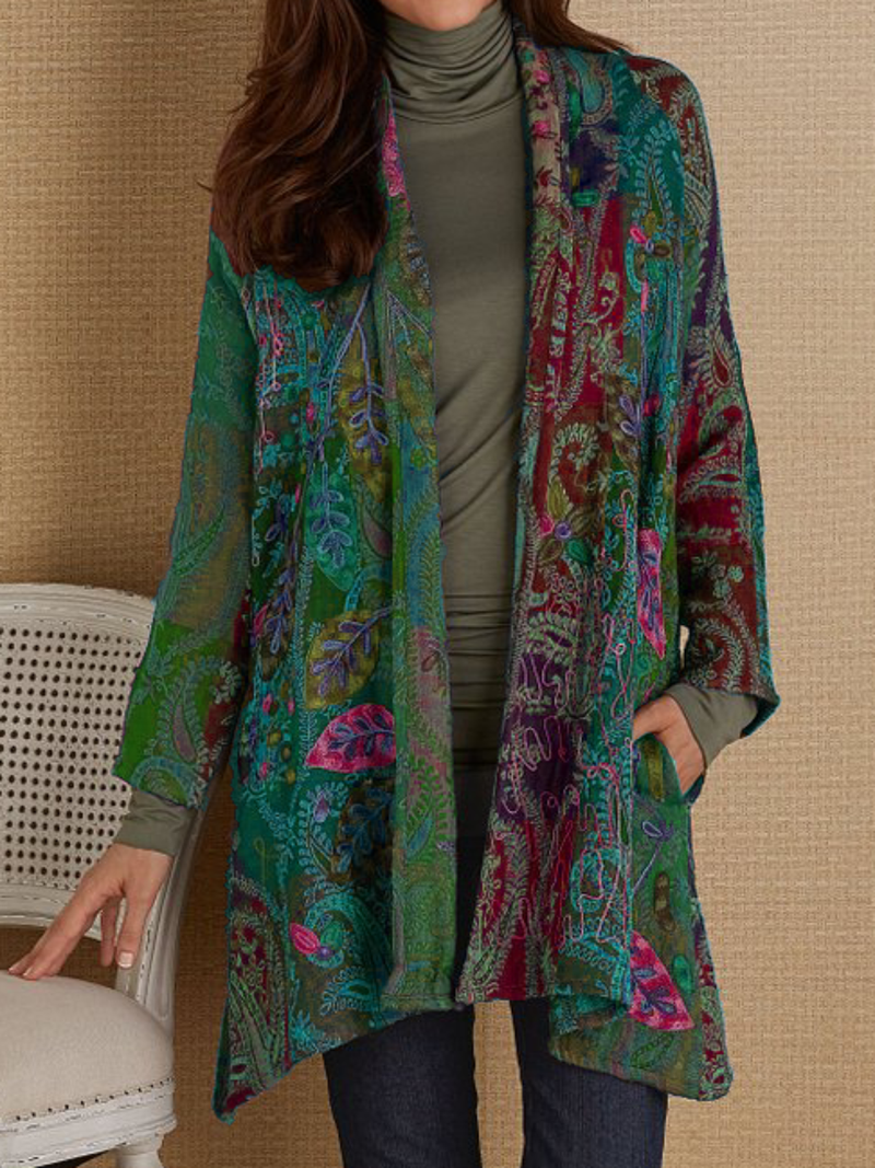 Plus size Long Sleeve Printed Outerwear