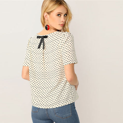 Bow Details Heart Print White Blouse