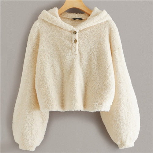 Beige Button Front Drop Shoulder Teddy Hoodie Women Tops