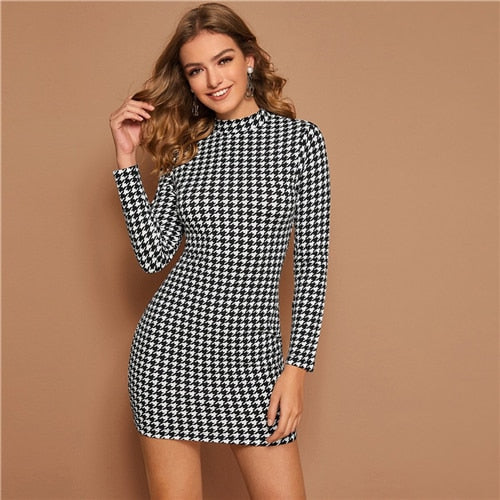 Black and White Mock Neck Houndstooth Print Bodycon Dress