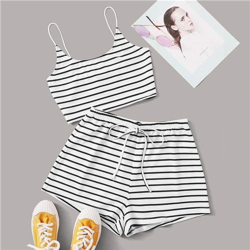 Black and White Striped Crop Cami Top and Tie Waist Shorts