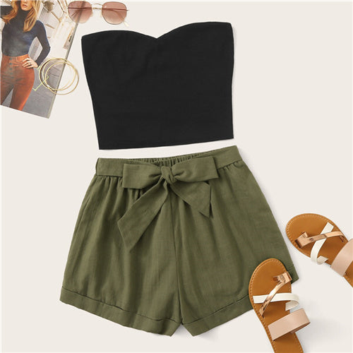 Solid Tube Top And Belted Shorts Set