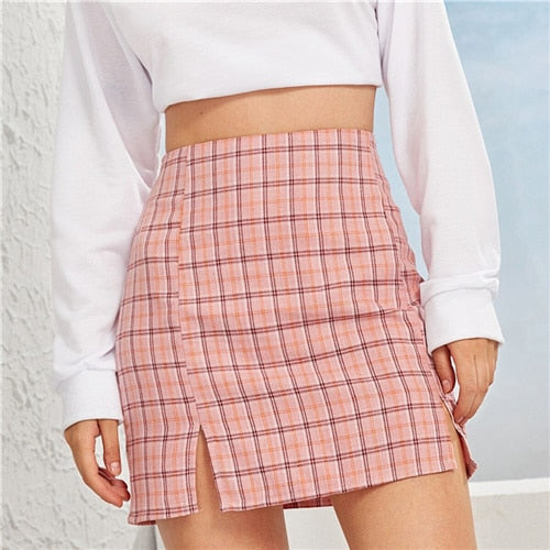 Plaid Side Slit Bodycon Mini Skirt