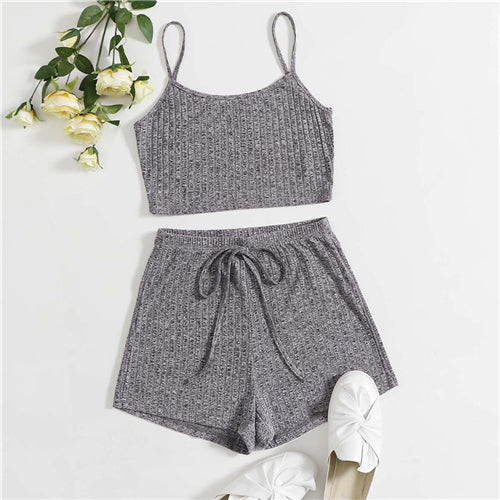 Grey Rib-knit Crop Cami Top and Knot
