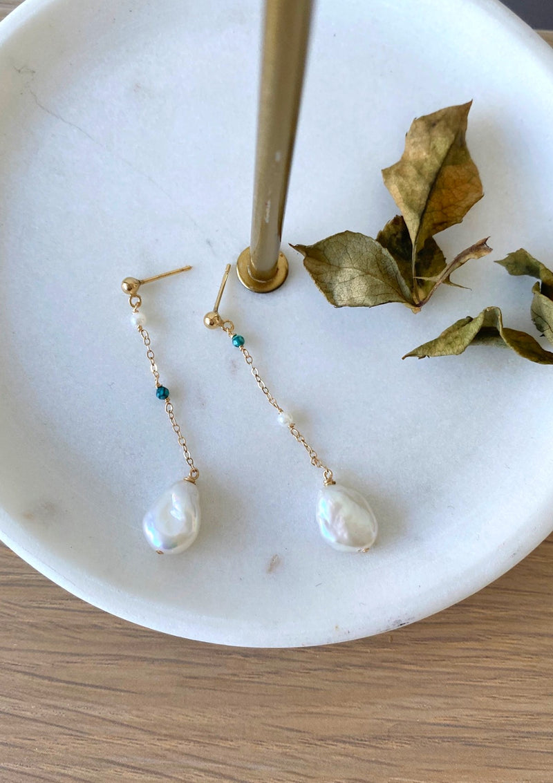 Keshi Pearl and Turquoise earrings