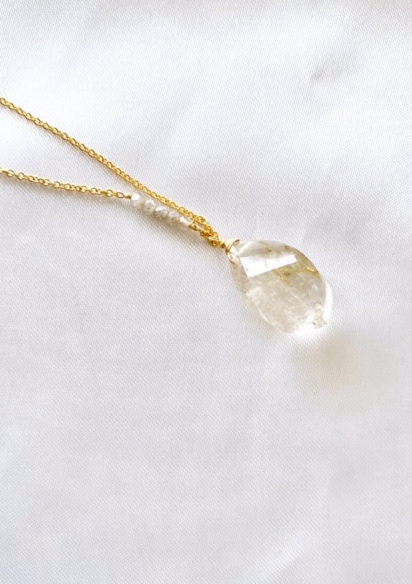 Rutile Quartz Rock Style Necklace