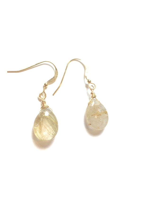 Rutile Quartz Simple Drop Earrings