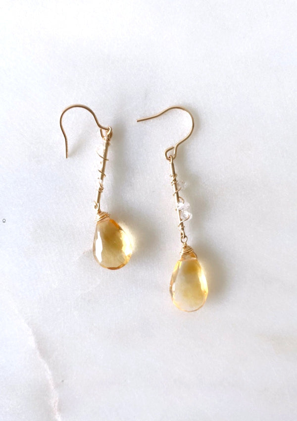 Citrine with Herkimer Diamonds Handmade Earrings by Australian Jewelry Shop ERIJEWELRY
