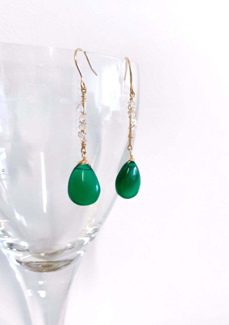 Green Onyx and Herkimer Diamonds Earrings