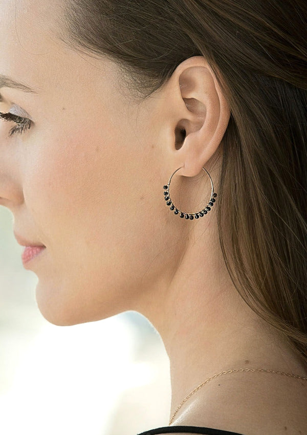 Gemstones hoop earrings are made by gold filled by ERIJEWELRY