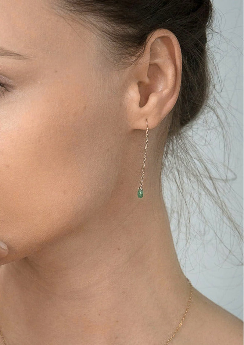 Mini Emerald Drop Earrings